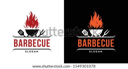 Barbecue restaurant - minimalist logo concept. Logo of Barbecue, Grill and Bar with fire, grill fork and spatula. BBQ logo template. Grunge texture. Vector illustration
