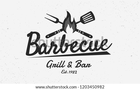 Barbecue restaurant - vintage logo concept. Logo of Barbecue, Grill and Bar with fire, grill fork and spatula. BBQ logo template. Grunge texture. Vector illustration
