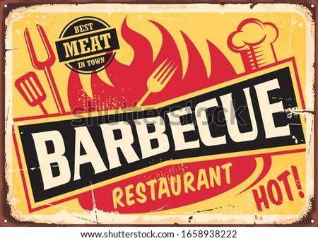 Barbecue restaurant vintage tin sign with fork , spatula, chef hat and grill fire on old rusty yellow background. Food retro vector illustration from 1950s