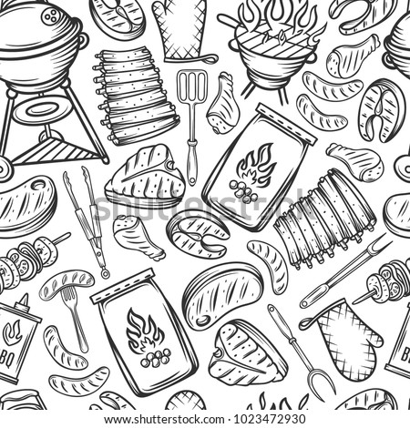 Barbecue seamless pattern. Background BBQ party with hand drawn meat, chicken, fish, sausage and tools. Vector hand drawn sketch illustration
