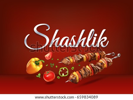 "Barbecue ""Shashlik"" paper hand lettering calligraphy. Vector illustration with food objects and text."