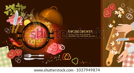 Barbecue top view, meat vector. Cooking food banners fresh vegetables ingredients barbecue grilled meat vector