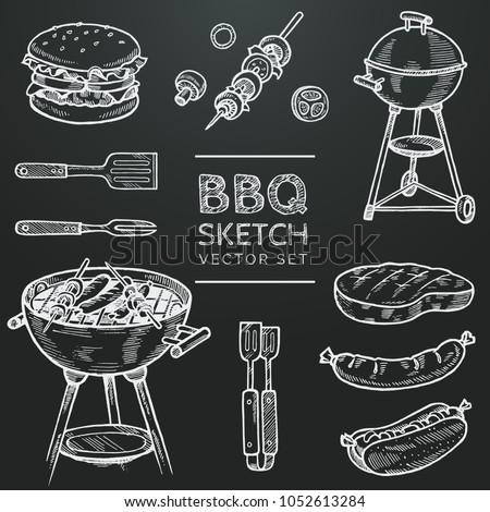 barbecue vector chalk sketch...
