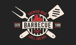 Barbecue vintage logo. BBQ party template logo with spatula and grill fork. Modern design poster. Label, badge, poster for steak house, barbecue party, restaurant. Vector illustration
