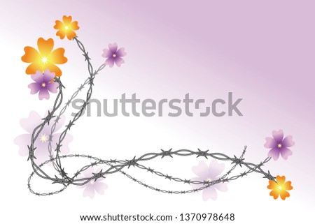 barbed wire and flowers tendril