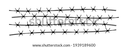 Barbed wire elements. Protect fence concept. Vector illustration isolated on white Stockfoto ©