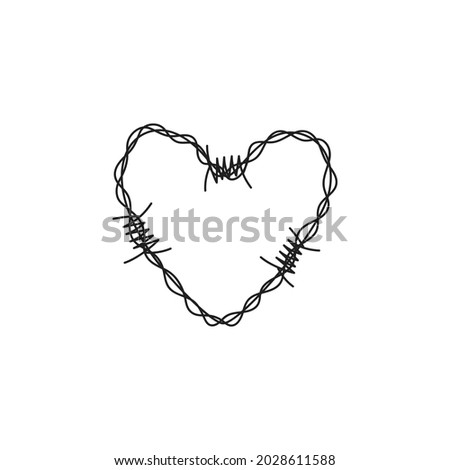 barbed wire heart vector