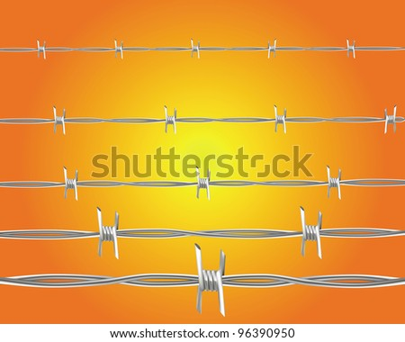barbed wire on an orange