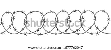 Barbed Wire Security Fence Seamless Pattern Vector. Modern Flexible Barriers Metal Wire With Razor Details For Defend Or Captivity Cage. Industrial Barbwire Mockup Realistic 3d Illustration Stockfoto ©