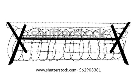 barbed wire silhouette isolated