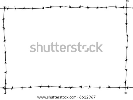 Barbed wire vector grunge border.