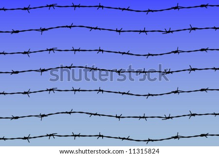 barbed wires on blue sky background