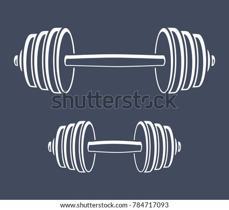 Barbell and dumbbell, black and white gym icons.