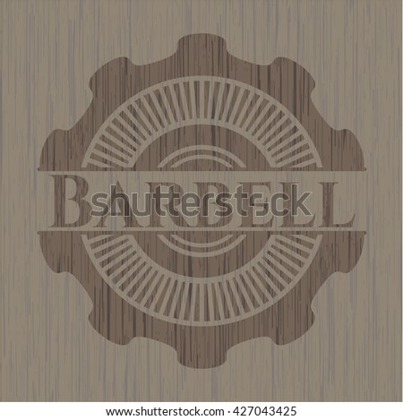 Barbell badge with wooden background