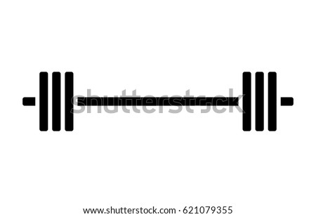 Barbell weight training equipment flat vector icon for exercise apps and websites