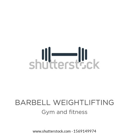 Barbell weightlifting icon vector. Trendy flat barbell weightlifting icon from gym and fitness collection isolated on white background. Vector illustration can be used for web and mobile graphic