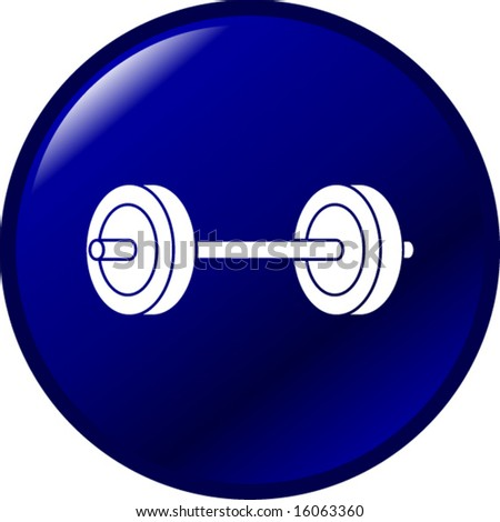 barbell weights button - stock vector