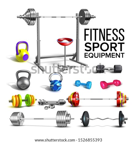 Barbells, Kettlebells And Dumbbells Set Vector. Collection Of Different Barbells Fitness Sport Equipment For Strong Muscles And Slim Figure. Gym Powerlifting Tools Template Realistic 3d Illustrations