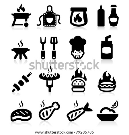 Barbeque icons set elegant series
