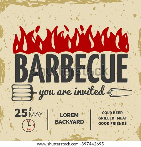 Barbeque invitation card on the old-paper background.