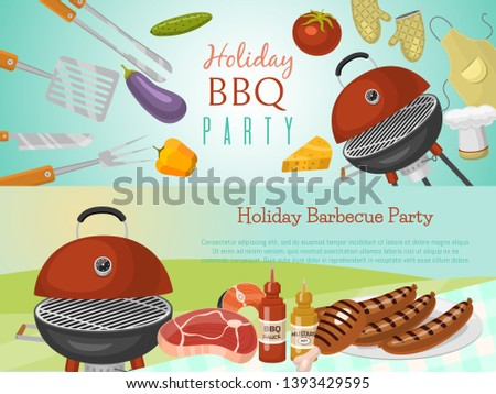 Barbeque picnic party banner meat steak roasted on round hot barbecue grill vector illustration. Bbq in park, banner design template. Grilled food menu poster. Homemade recipe card cookbook cover.