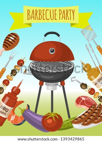 Barbeque picnic party poster meat steak roasted on round hot barbecue grill vector illustration. Bbq in park, banner design template. Grilled food menu. Homemade recipe card cookbook cover.