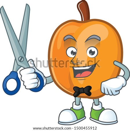 Barber apricot cartoon character for nutritious maskot