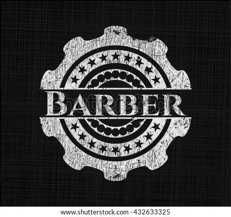 Barber chalk emblem, retro style, chalk or chalkboard texture