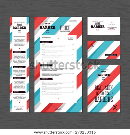 Barber corporate identity template design. Hairdresser  business stationery