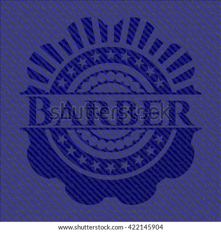 Barber emblem with jean high quality background