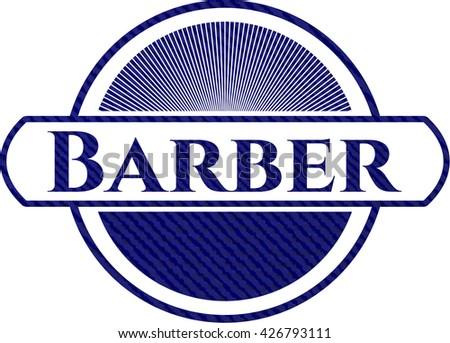 Barber emblem with jean texture