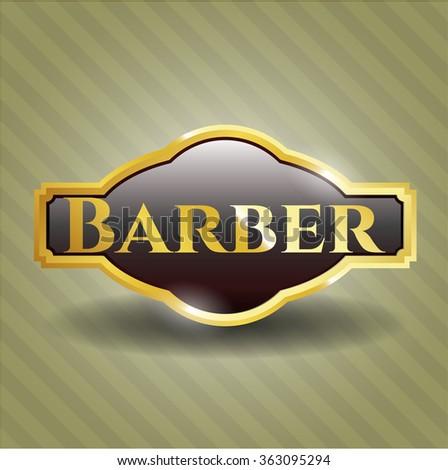 Barber gold badge or emblem