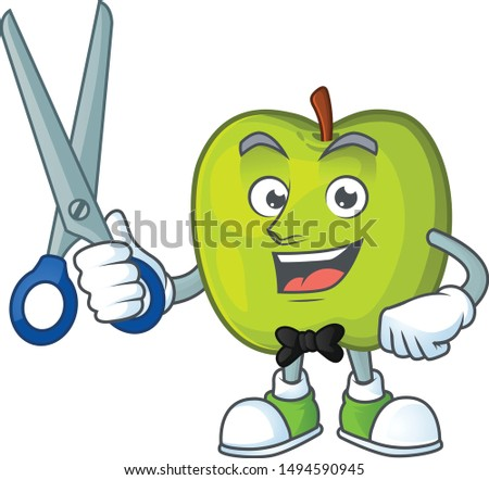 Barber granny smith in a green apple character mascot