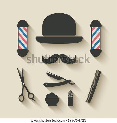 barber icon set vector illustration eps 10