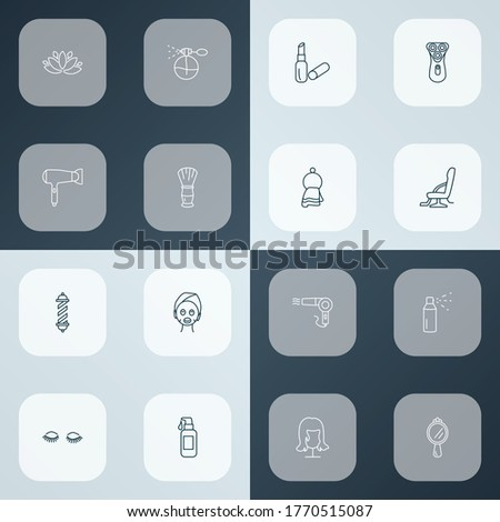 Barber icons line style set with lipstick, barber pole, barber chair and other cream elements. Isolated vector illustration barber icons.