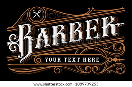 Barber lettering design. Vintage logo of barbershop on dark background. All objects are on the separate group.