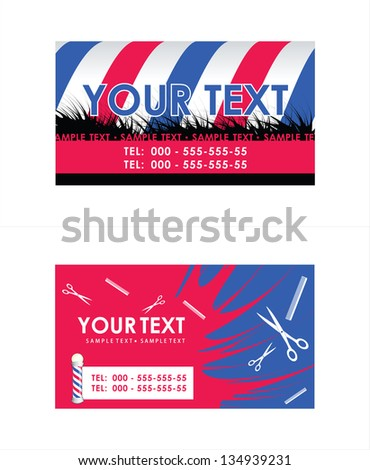 Barber Pole business cards . Vector illustration
