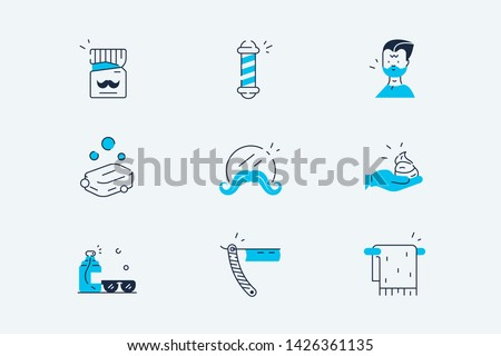 Barber salon set vector illustration. Barbershop line art icons, signage pole, shaving trimming, curlers, cutting tools flat style concept. Isolated on white