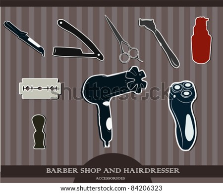 Barber Shop and Hairdresser  accessories.Vector illustration.Vector set stickers