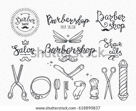 Barber Shop Badge Logo Label Emblem Beauty Salon Icons Modern Brush