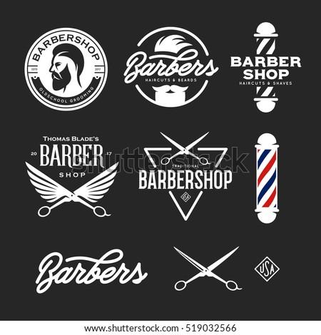 barber shop badges set barbers