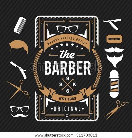 Barber shop design elements,Set of vintage barber shop logo, labels, badges and design element,vector