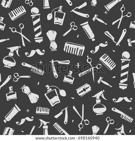 Barber Shop elements Vector seamless pattern and endless background. Barber tools isolated on black background Template for Print fabric design, barbershop decoration paper pattern