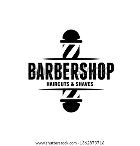 Barber shop emblem badge logotype sign. Barbershop monochrome design element for advertising prints posters. Vector vintage illustration.