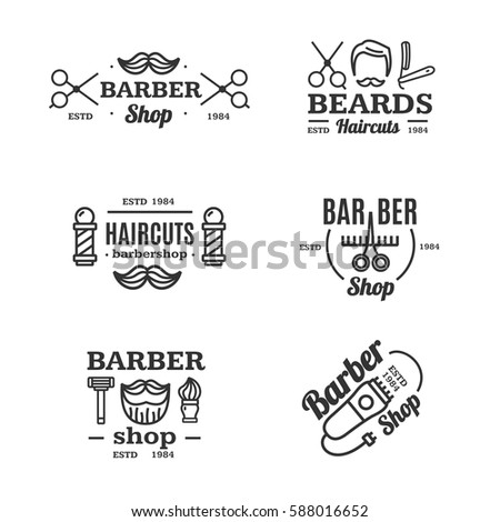 Barber Shop Emblems Set Shaving and Grooming Services Vintage Design Style for Web. Vector illustration
