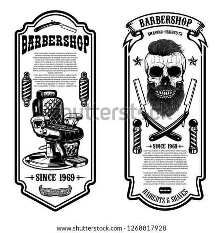 Barber shop flyer template. Barber chair and skull on white background. Design element for emblem, sign, poster, card, banner. Vector illustration