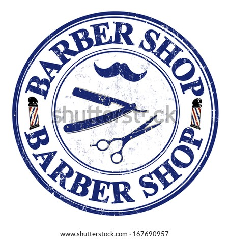 barber shop grunge rubber stamp