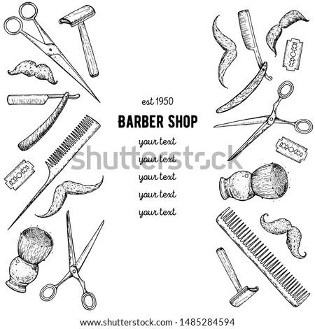 barber shop hand drawn vector