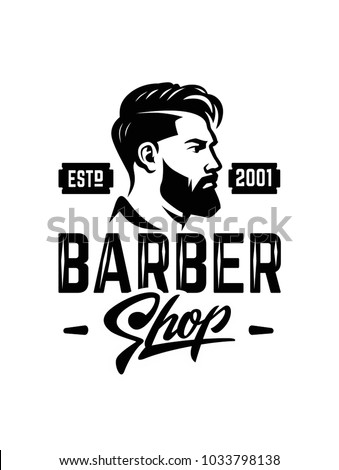 Barber shop label badge emblem. Vector black