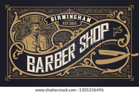 Barber shop label, Western style